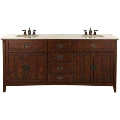 Artisan 72 in. W Double Bath Vanity in Dark Oak with Natural Marble Vanity Top in White