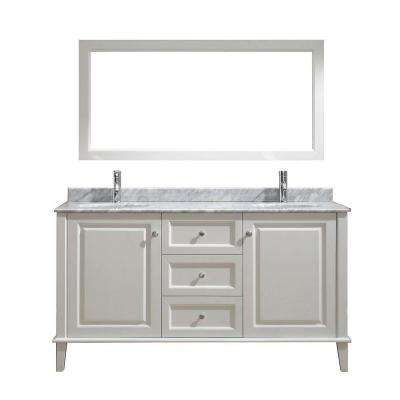 Lily 63 in. Vanity in White with Marble Vanity Top in White and Mirror