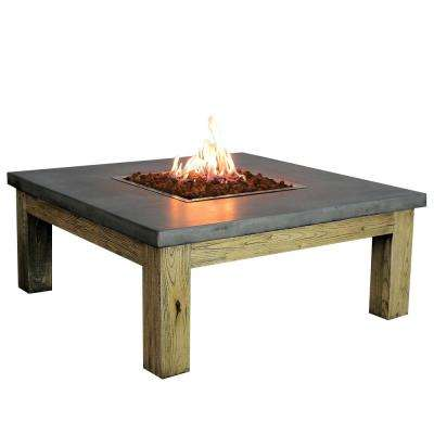 Amish 40 in. x 17 in. Square Concrete Propane Fire Pit Table with Burner and Lava Rock