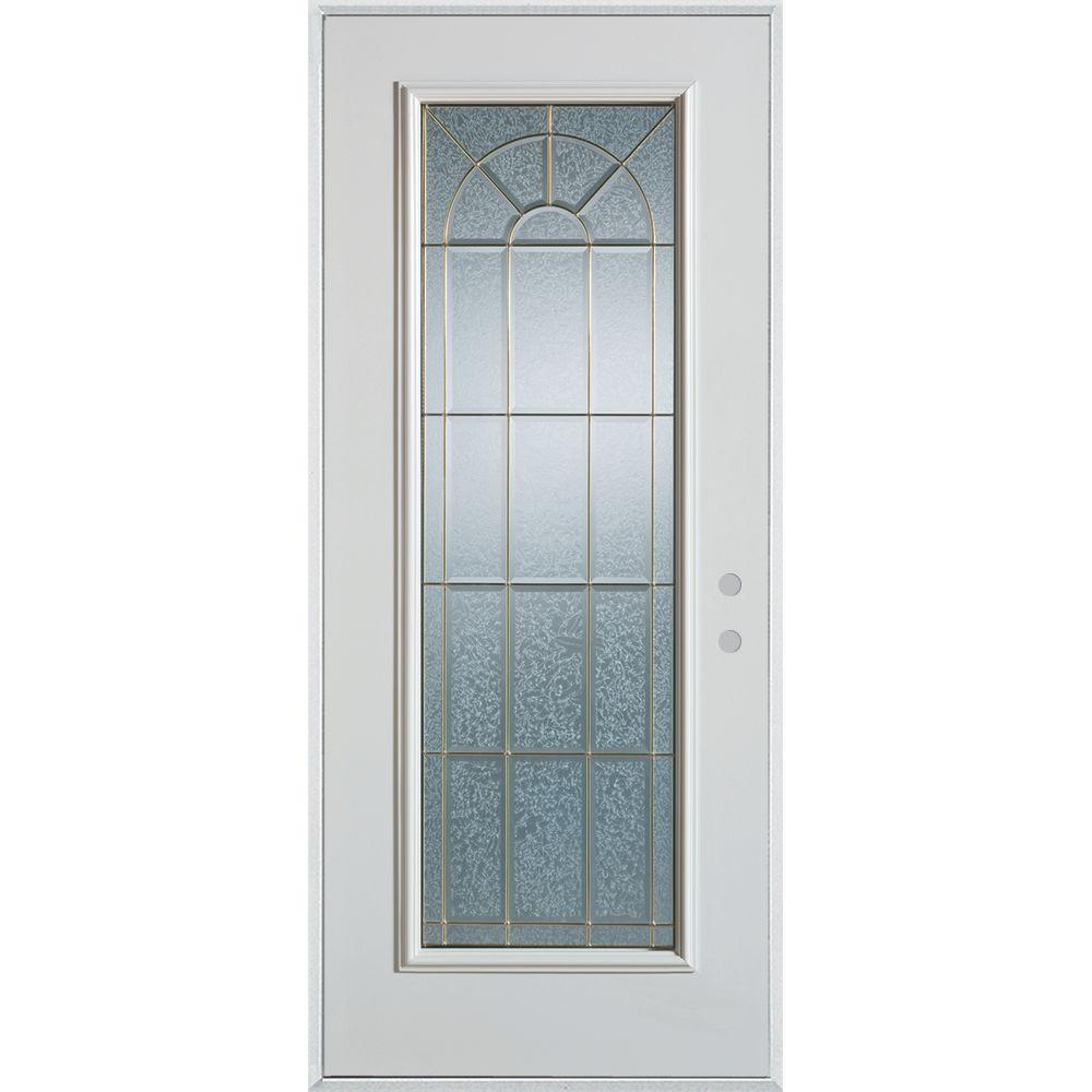Stanley Doors 32 in. x 80 in. Geometric Patina Full Lite Painted White Left-Hand Inswing Steel Prehung Front Door