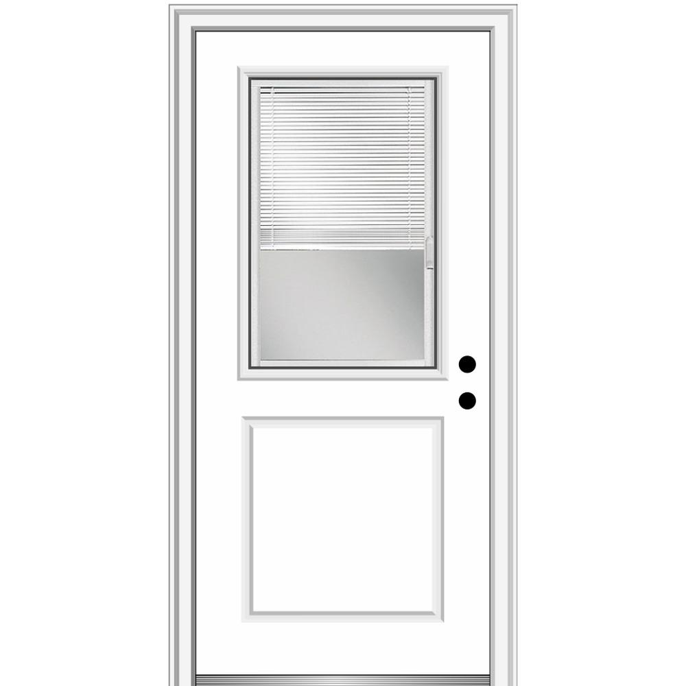 MMI Door 36 in. x 80 in. Internal Blinds Left-Hand Inswing 1/2 Lite 1-Panel Clear Primed Fiberglass Smooth Prehung Front Door
