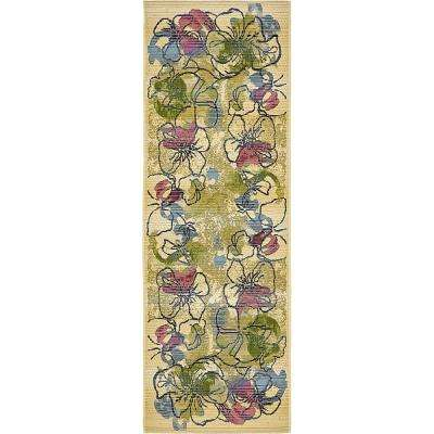 Outdoor Pansy Ivory 2' 0 x 6' 0 Runner Rug