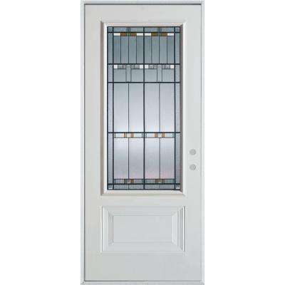37.375 in. x 82.375 in. Architectural 3/4 Lite 1-Panel Painted White Left-Hand Inswing Steel Prehung Front Door