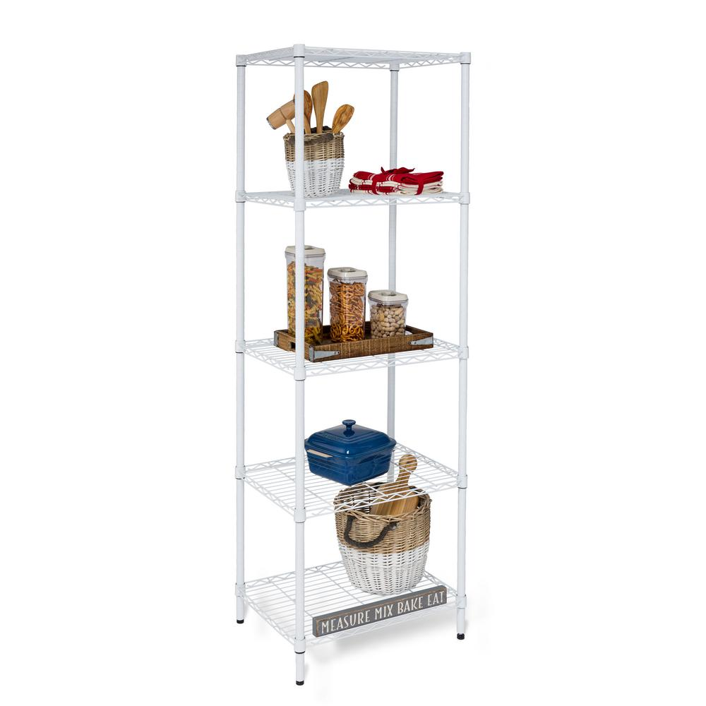 HoneyCanDo Honey-Can-Do 24 in. x 18 in. x 72 in. White 5 Tier Shelving Unit