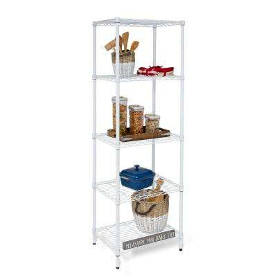 24 in. x 18 in. x 72 in. White 5 Tier Shelving Unit