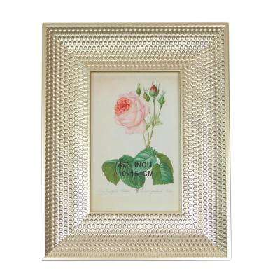 9.25 in. Metallic Silver Finish Honeycomb Inspired Photo Picture Frame 4 in. x 6 in.
