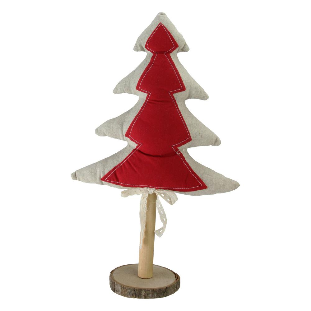 Northlight 14 In Red And Neutral Christmas Tree With Wooden Base Tabletop Decoration