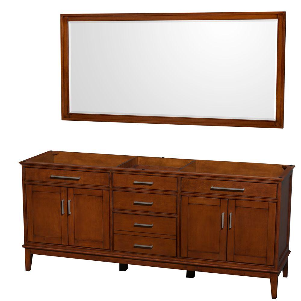 Wyndham Collection Hatton 78.5 in. Vanity Cabinet with Mirror in Light Chestnut