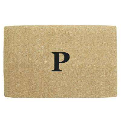 No Border 22 in. x 36 in. Heavy Duty Coir Monogrammed P Door Mat