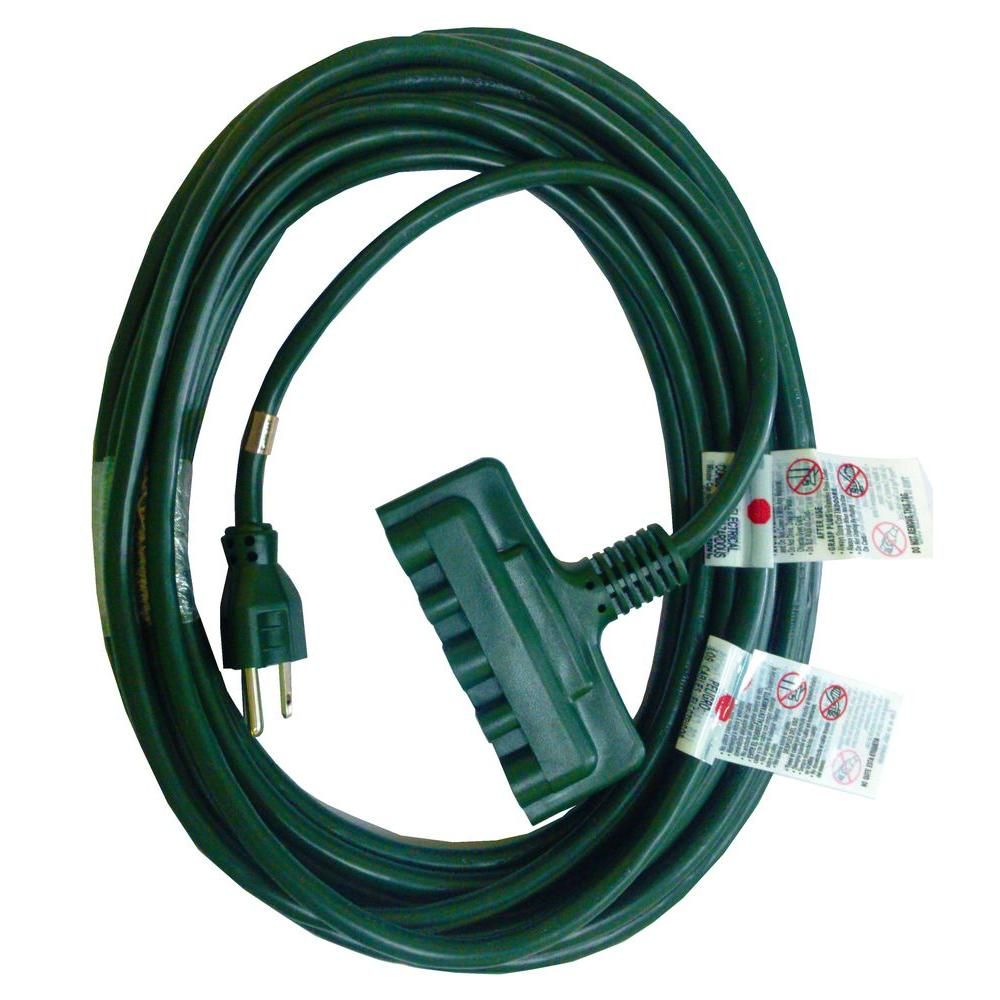 HDX 50 ft. 16/3 Tri-Tap Indoor/Outdoor Landscape Extension Cord, Green