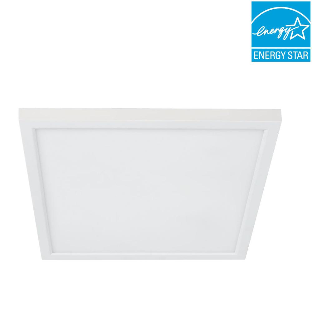 Flush mount lights lighting the home depot j box 8 watt dimmable white integrated led square flat aloadofball Choice Image