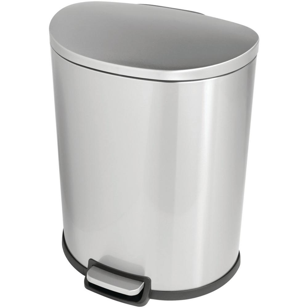 13 Gal. Stainless Steel D-Shaped Step On Trashcan