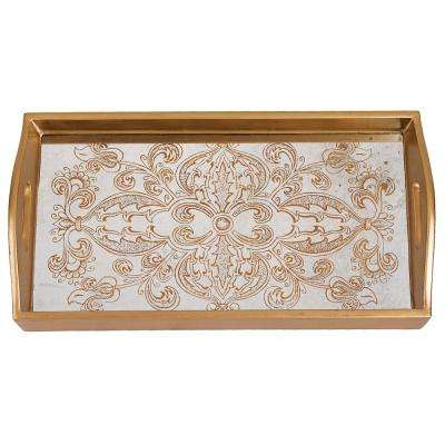 18 in. x 12 in. Manta Gold Rectangle Tray