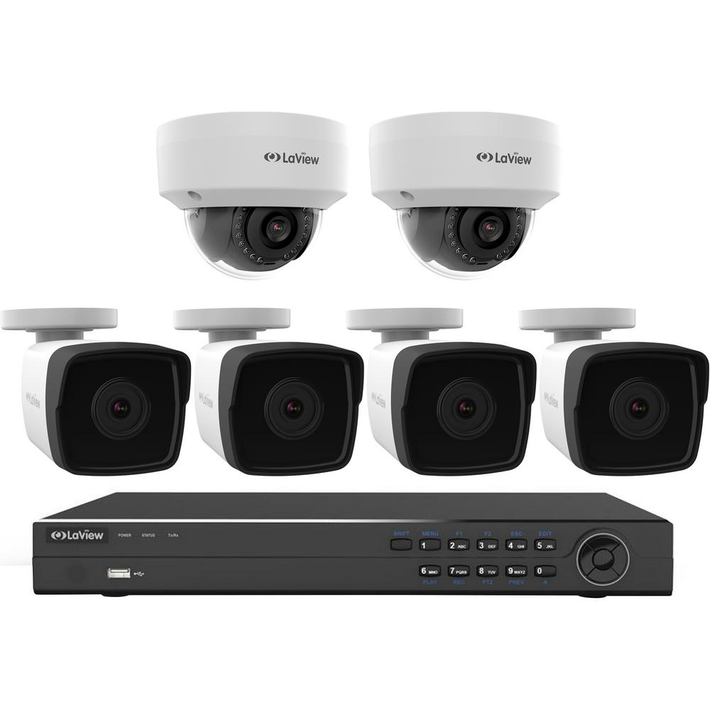 LaView 8-Channel Full HD IP Indoor/Outdoor Surveillance 4TB NVR System (4) 1080p Bullet and (2) Dome Cameras Remote Viewing
