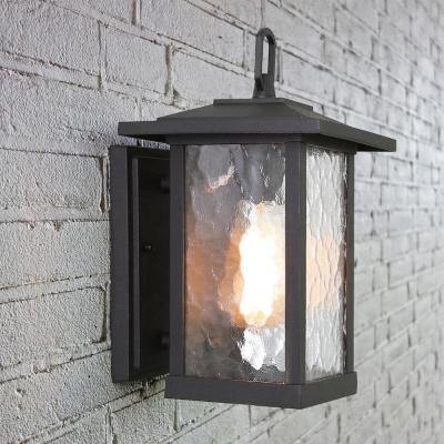 1-Light Transitional Outdoor Wall Light Lantern Sconce with Watered Glass Matt Black Coach Light LED Compatible