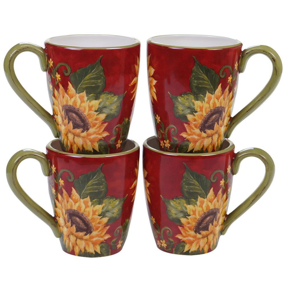 Sunset Sunflower 22 oz. Multi-color Mug (Set of 4)