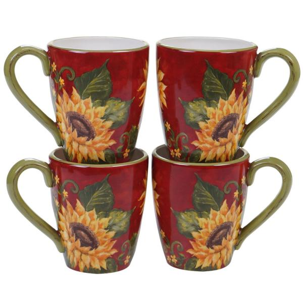 Sunset Sunflower 22 oz. Multi-color Mug (Set of 4)