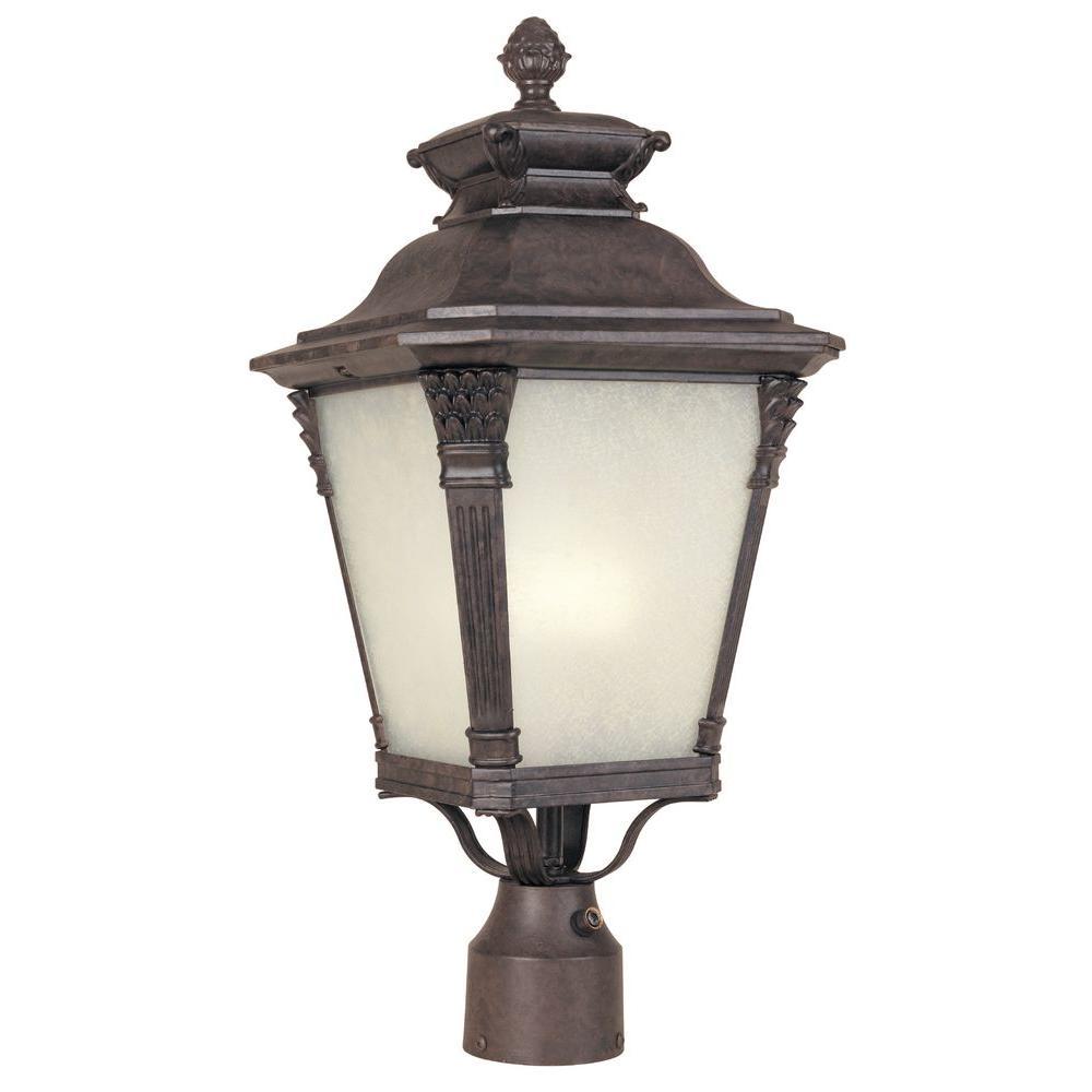 Hampton Bay Seville Collection Outdoor Seville Bronze Post Lantern-DISCONTINUED