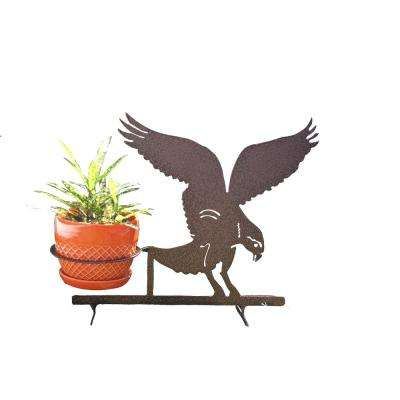 Eagle Design Lawn Art 15.7 in. H x 19.7 in. W x 6.75 in. D with 6 in. Opening Black Metal 3D Standing Planter