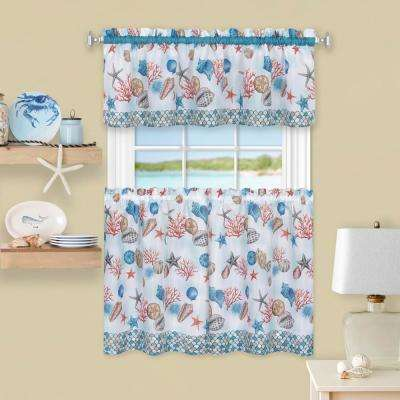 58 in. W x 36 in. L Polyester Tier and Valance Curtain Set in Coastal