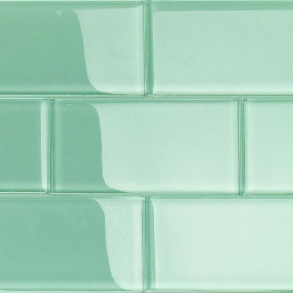 Contempo Spa Green Polished 3 in. x 6 in. x 8 mm Glass Subway Tile (32 pieces 4 sq.ft./Box)