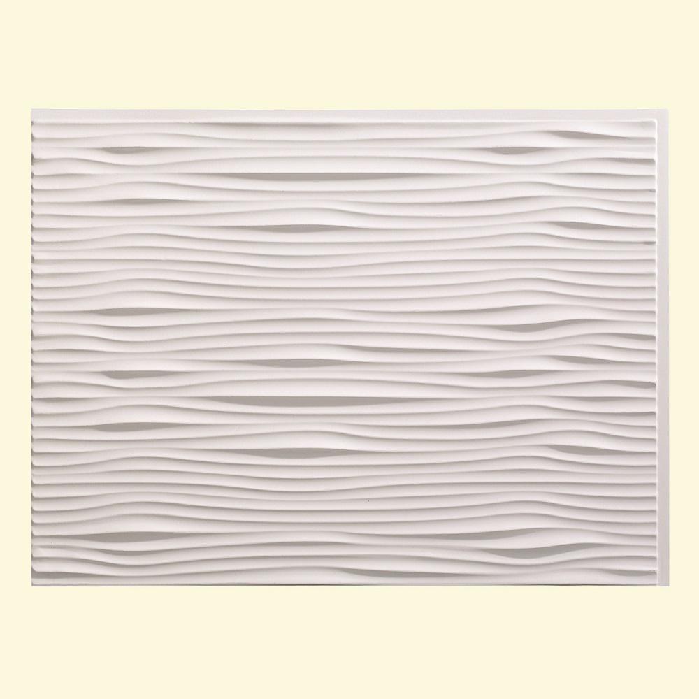 24 in. x 18 in. Waves PVC Decorative Tile Backsplash in Matte White
