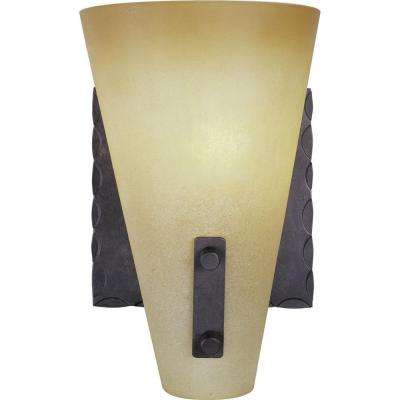 Lodge 1-Light Indoor Frontier Iron Bath or Vanity Light Wall Mount or Wall Sconce with Tapered Empire Glass Shade