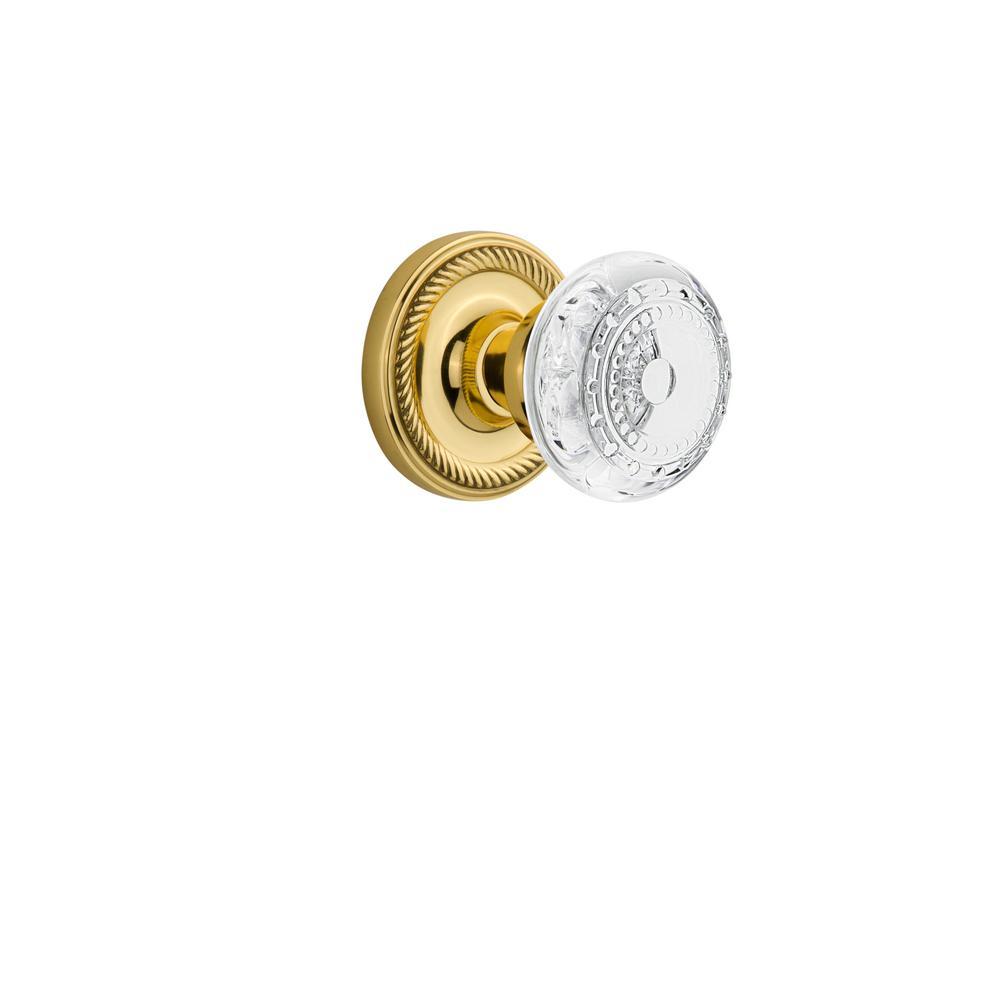 Rope Rosette Unlacquered Brass Single Dummy Crystal Meadows Door Knob