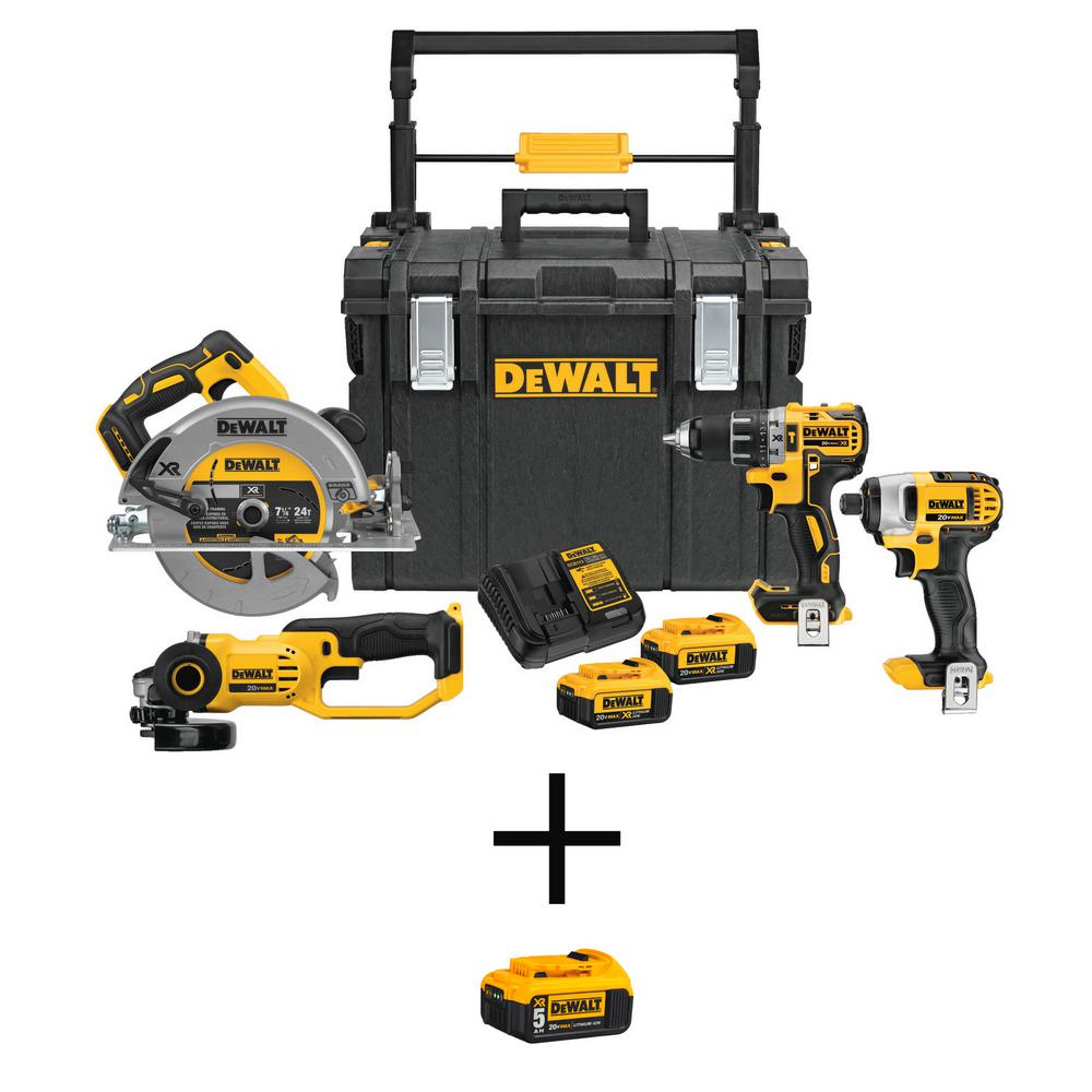 DEWALT 20-Volt MAX Lithium-Ion Cordless Combo Kit (4-Tool) and ToughSystem Case with Bonus 20-Volt 5.0 Ah Battery