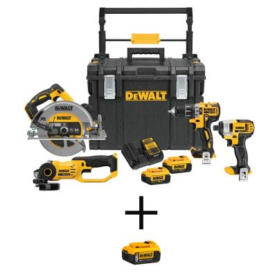 4-Tool DEWALT 20-Volt MAX Cordless Combo Kit and Case with Battery