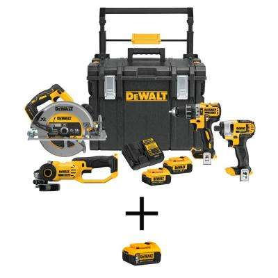 20-Volt MAX Lithium-Ion Cordless Combo Kit (4-Tool) and ToughSystem Case with Bonus 20-Volt 5.0 Ah Battery