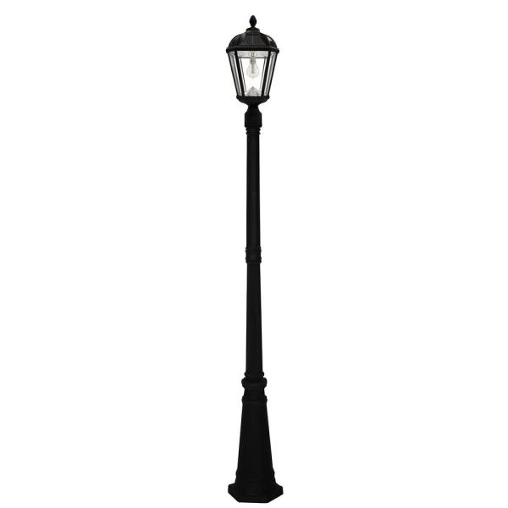 Royal Bulb Series Single Black Integrated LED Outdoor Solar Lamp Post Light with GS Solar LED Light Bulb