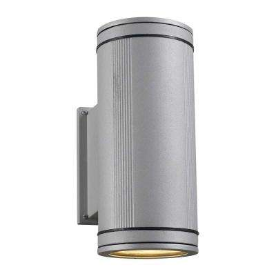 2-Light Outdoor Metallic Silver Wall Sconce with Clear Glass