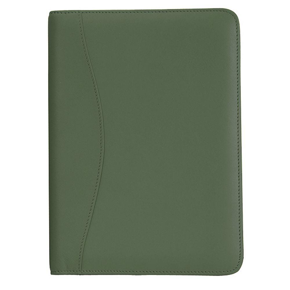Genuine Leather Compact Writing Portfolio Organizer, Green