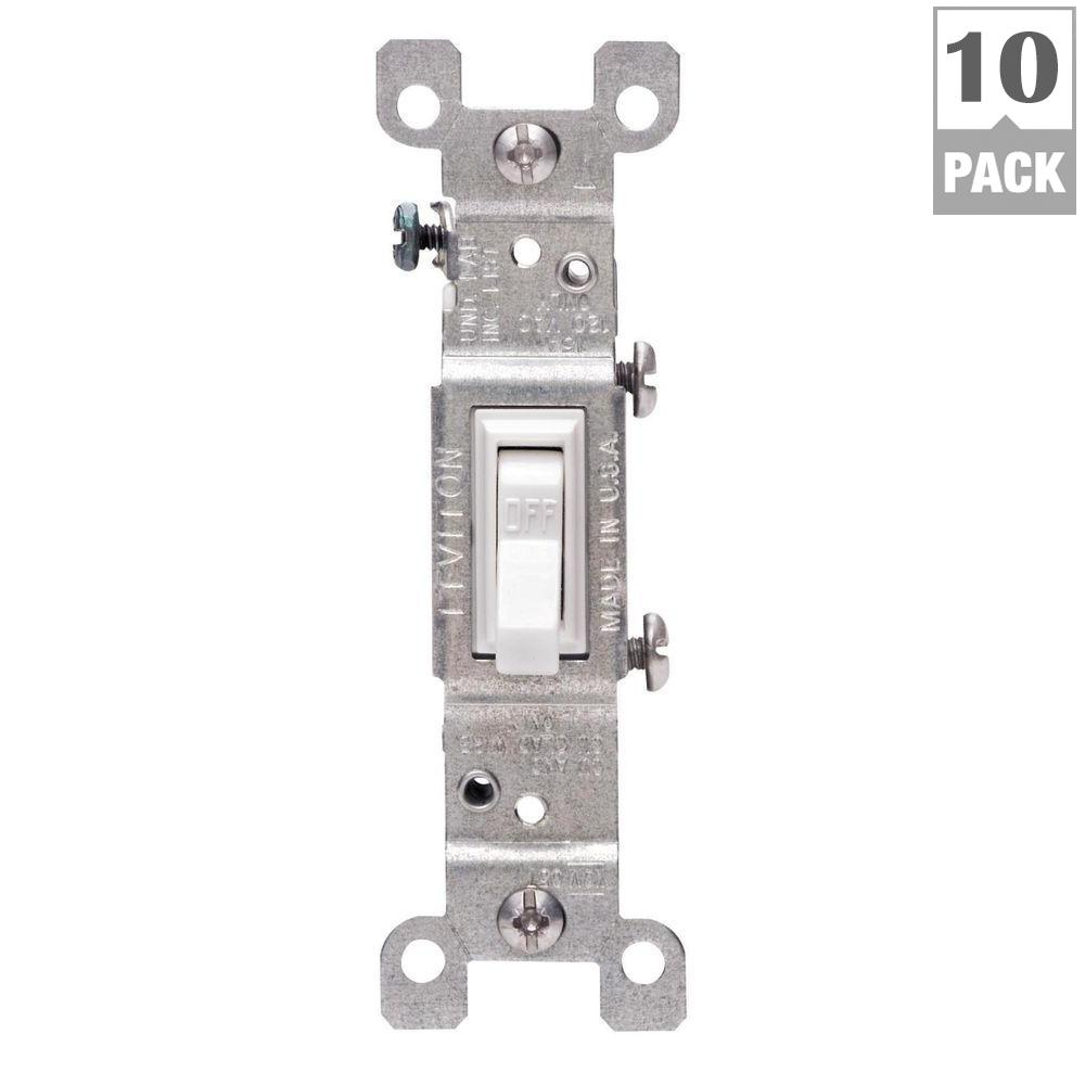 Leviton 15 Amp Single-Pole Switch, White (10-Pack)-M24-01451-2WM ...
