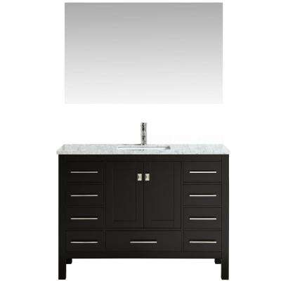 Aberdeen 47.2 in. W x 22 in. D x 35 in. H Vanity in Espresso with Carrara Marble Vanity Top in White with White Basin