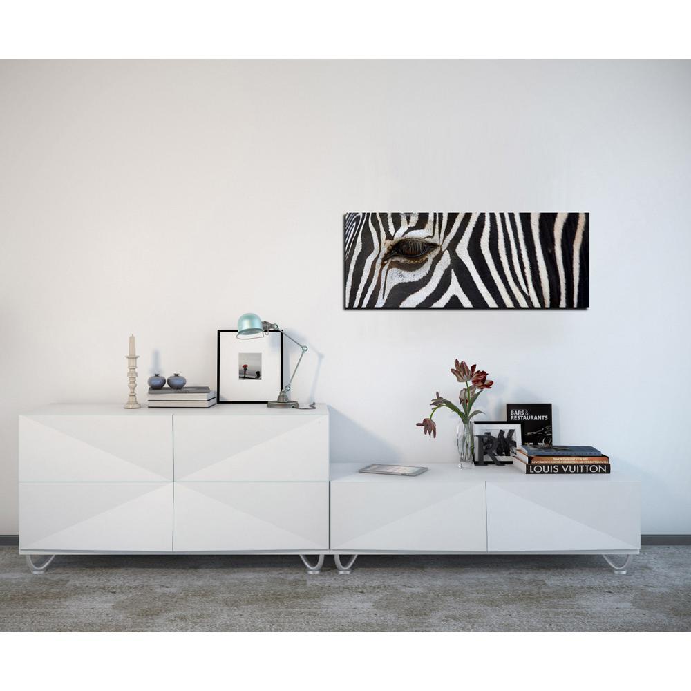 "16 in. x 48 in. ""Zebra"" Frameless Printed Glass Wall Art"