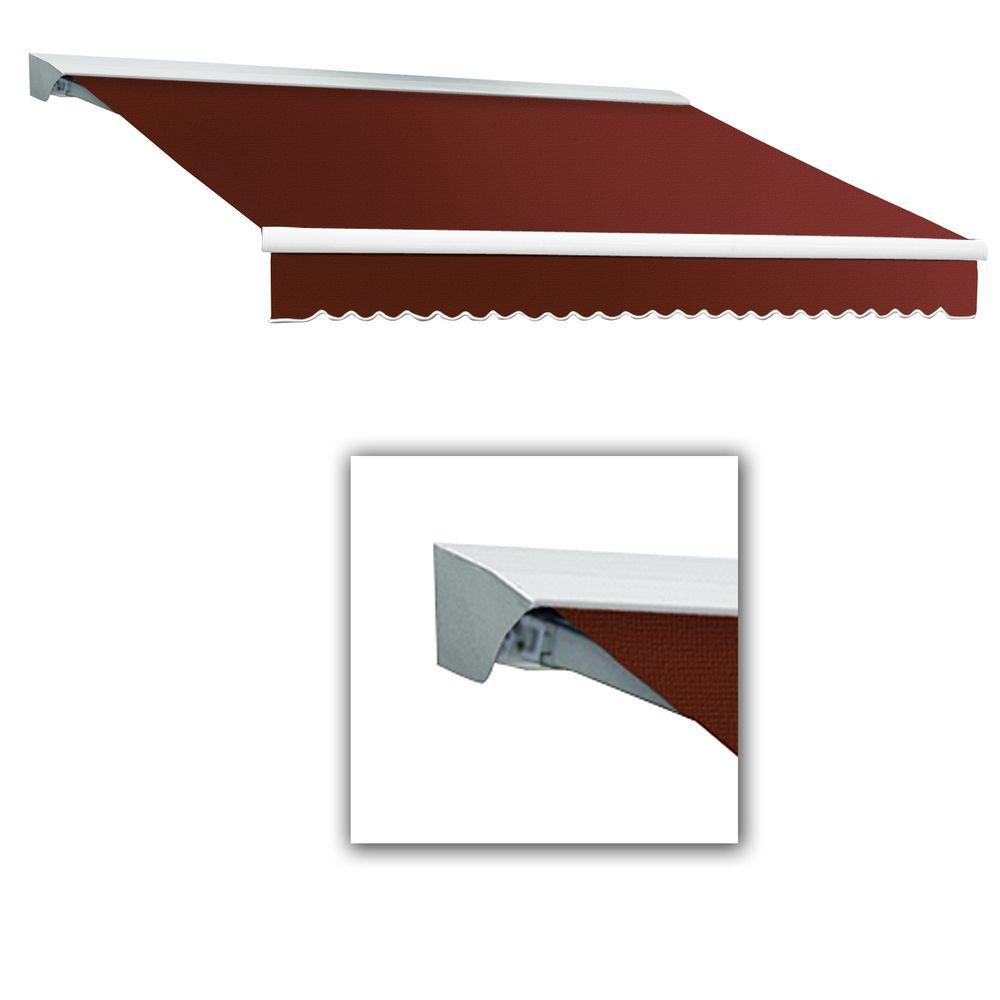 AWNTECH 12 ft. Destin-LX Manual Retractable Acrylic Awning with Hood (120 in. Projection) in Terra Cotta