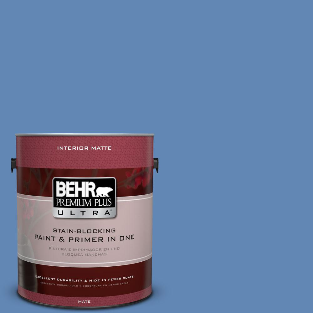 BEHR Premium Plus Ultra 1 gal. #580B-6 Castle Moat Matte Interior Paint and Primer in One