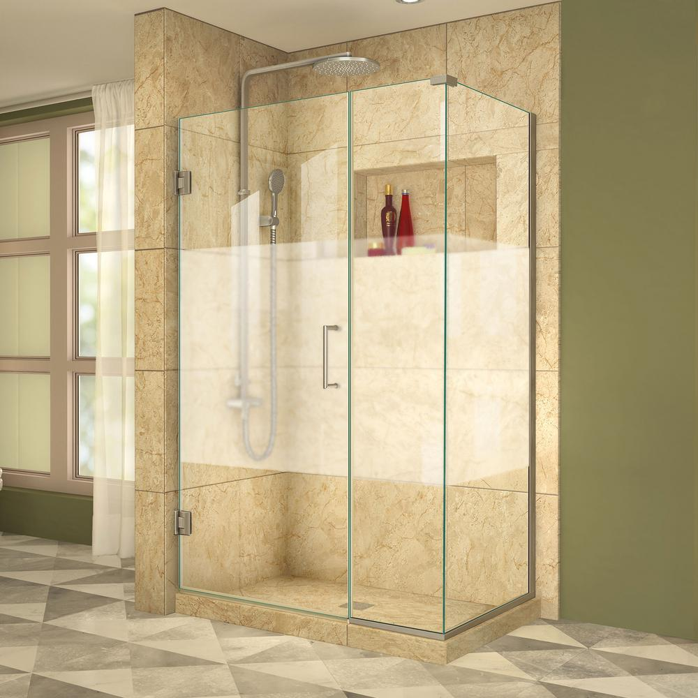 DreamLine Unidoor Plus 30-3/8 in. x 41-1/2 in. x 72 in. Semi-Frameless Hinged Corner Shower Enclosure in Brushed Nickel