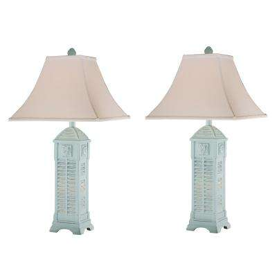 30 in. Sky Blue Indoor Table Lamp Set