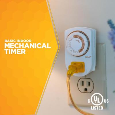 15-Amp 24-Hour Indoor Plug-In Mini Single-Outlet Mechanical Timer, White (2-Pack)