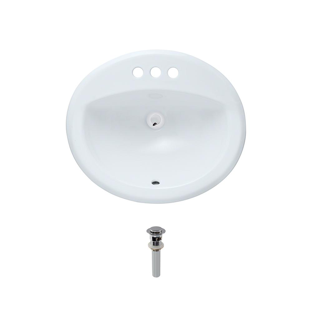 Overmount Porcelain Bathroom Sink in White with Pop-Up Drain in Chrome