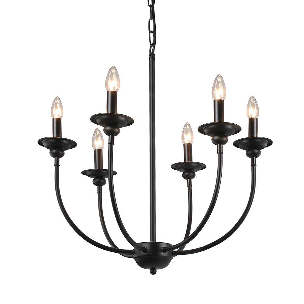 6-Light Black Chandelier