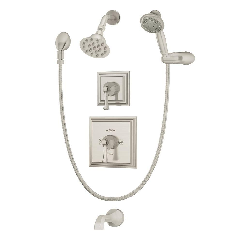 Canterbury Single-Handle 1-Spray Tub and Shower Faucet in Satin Nickel (Valve