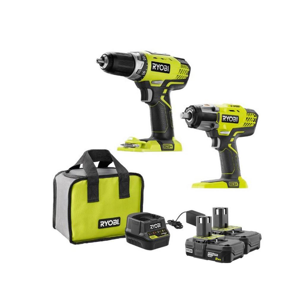 RYOBI 18-Volt ONE+ Cordless Combo Kit with 1/2 in. Drill, 1/2 in. Impact Wrench, (2) 2.0 Ah Lithium-Ion Batteries and Charger