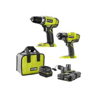 Ryobi 18-Volt ONE+ Cordless Combo Kit with 1/2 in. Drill, 1/2 in. Impact Wrench, 2.0 Ah Lithium-Ion Batteries and Charger