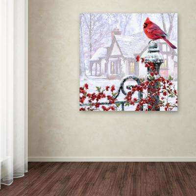 """35 in. x 35 in. """"Cardinal on Gatepost"""" by The Macneil Studio Printed Canvas Wall Art"""
