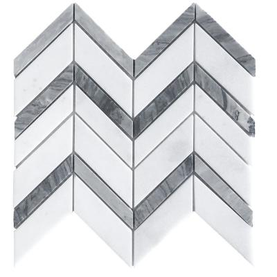 Glacier Edge White and Gray 9.875 in. x 11.25 in. Chevron Honed Marble Floor and Wall Mosaic Tile (0.771 sq. ft./Each)