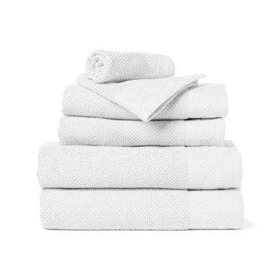 Coastal Shell 6-Piece 100% Cotton Bath Towel Set in White